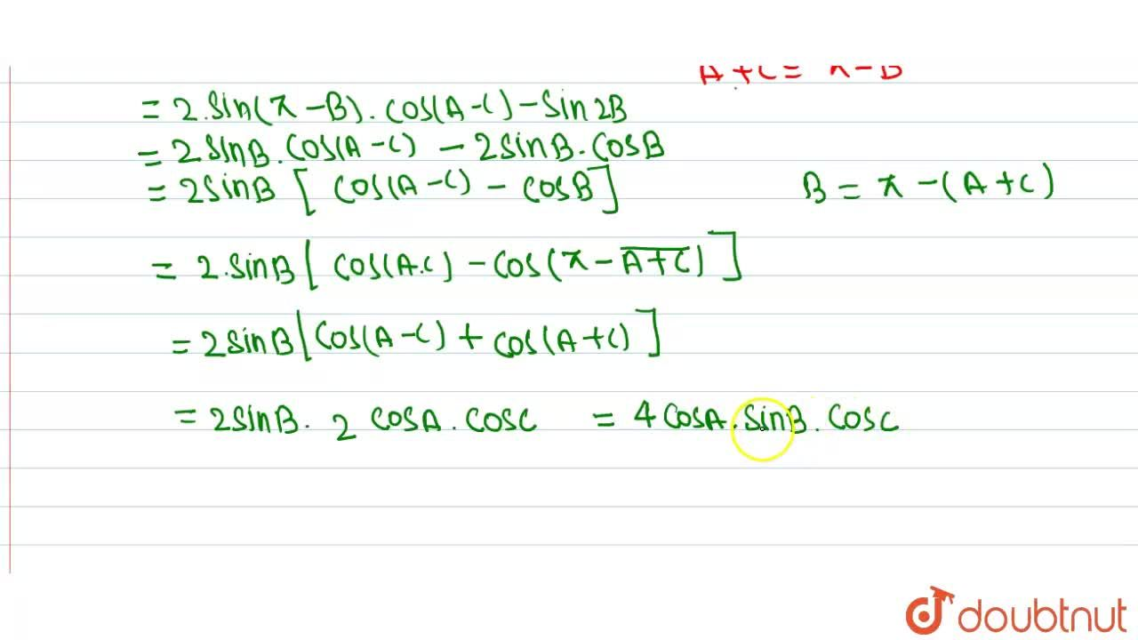 Solution for If A+B+C=pi , prove  that  <br> sin 2A-sin 2B+s