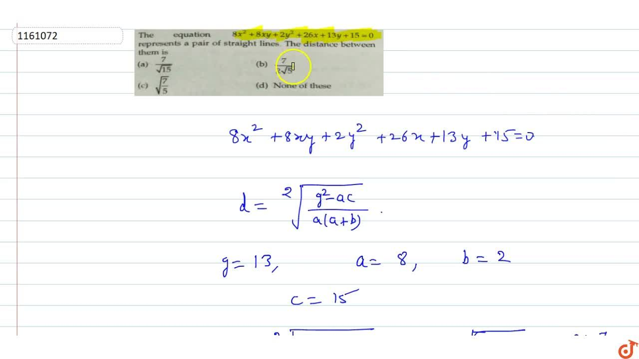 Solution for The equation 8x^2 +8xy +2y^2+26x +13y+15=0 repre