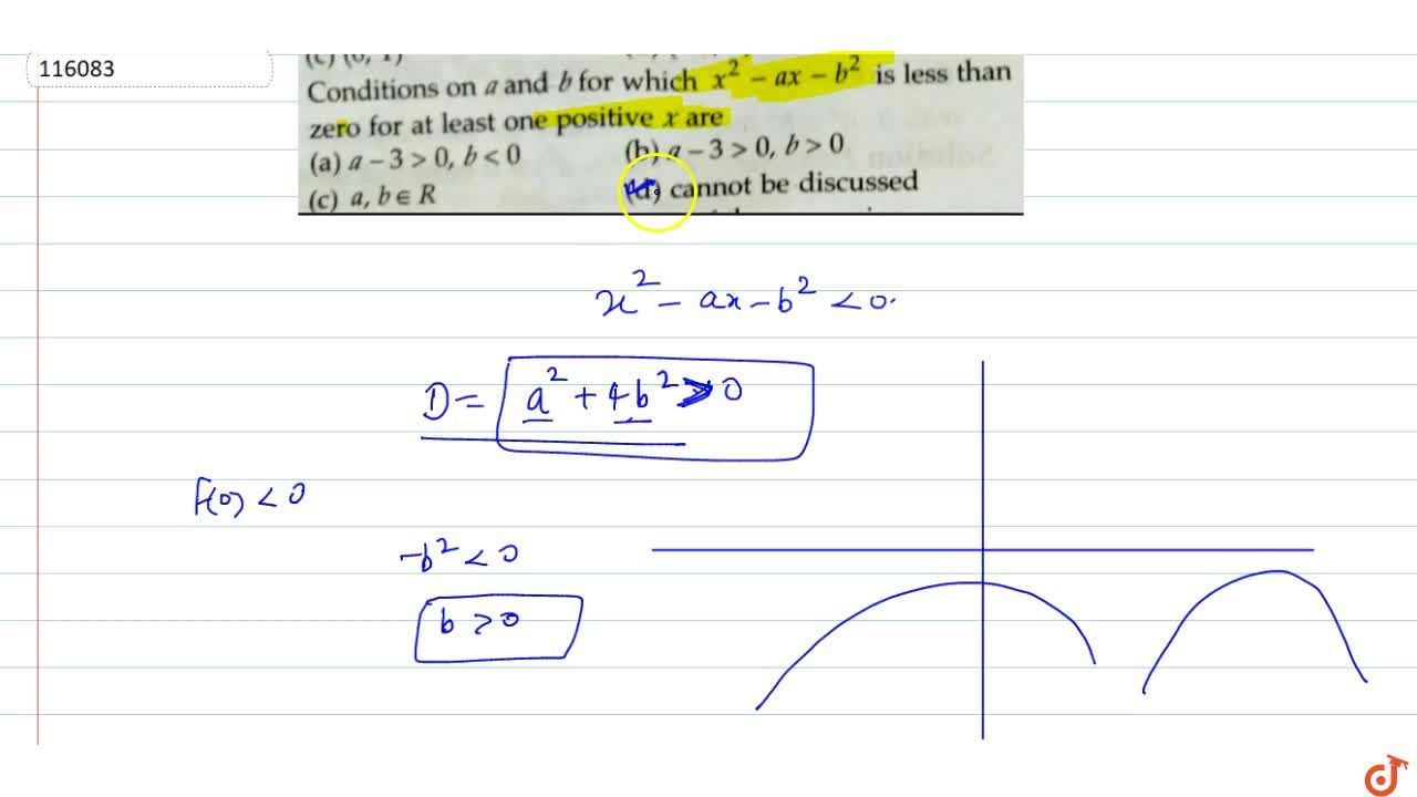 Solution for  Conditions on a and b for which x^2 -ax-b^2 is