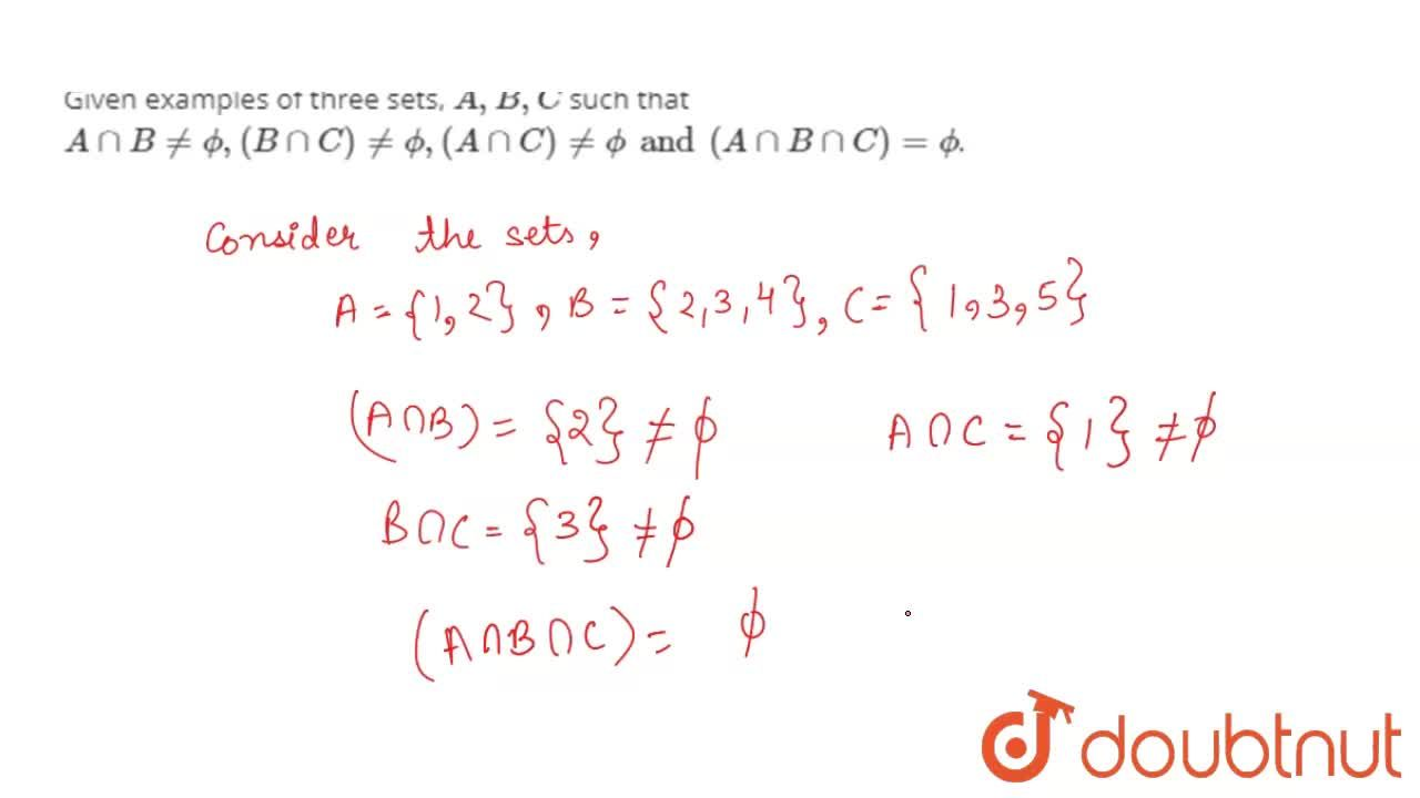 Solution for Given examples of three sets,  A,B, C such that