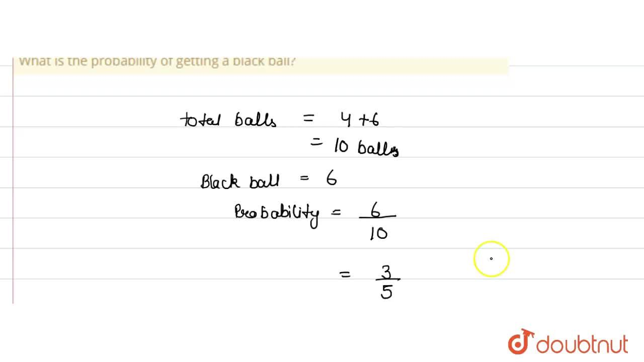 Solution for A bag contains 4 red and 6 black balls. A ball is