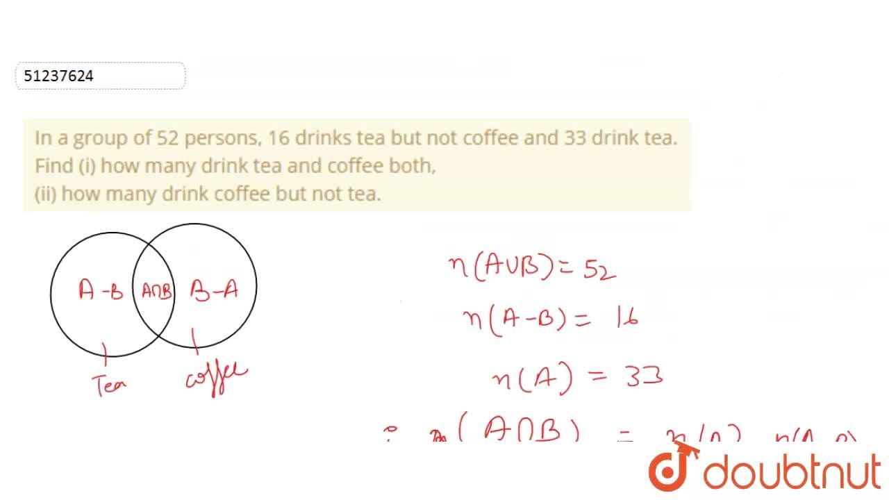 Solution for In a group of 52 persons, 16 drinks tea but not co