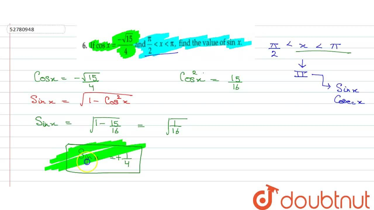 """Solution for  if cos  x= (-sqrt(15)),(4)  """" and  """" (pi),(2)  l"""