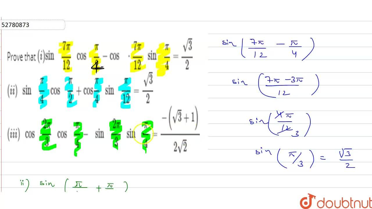 """Solution for Prove that   (i)  """"sin  """"  (7pi),(12) """" cos  """" (p"""