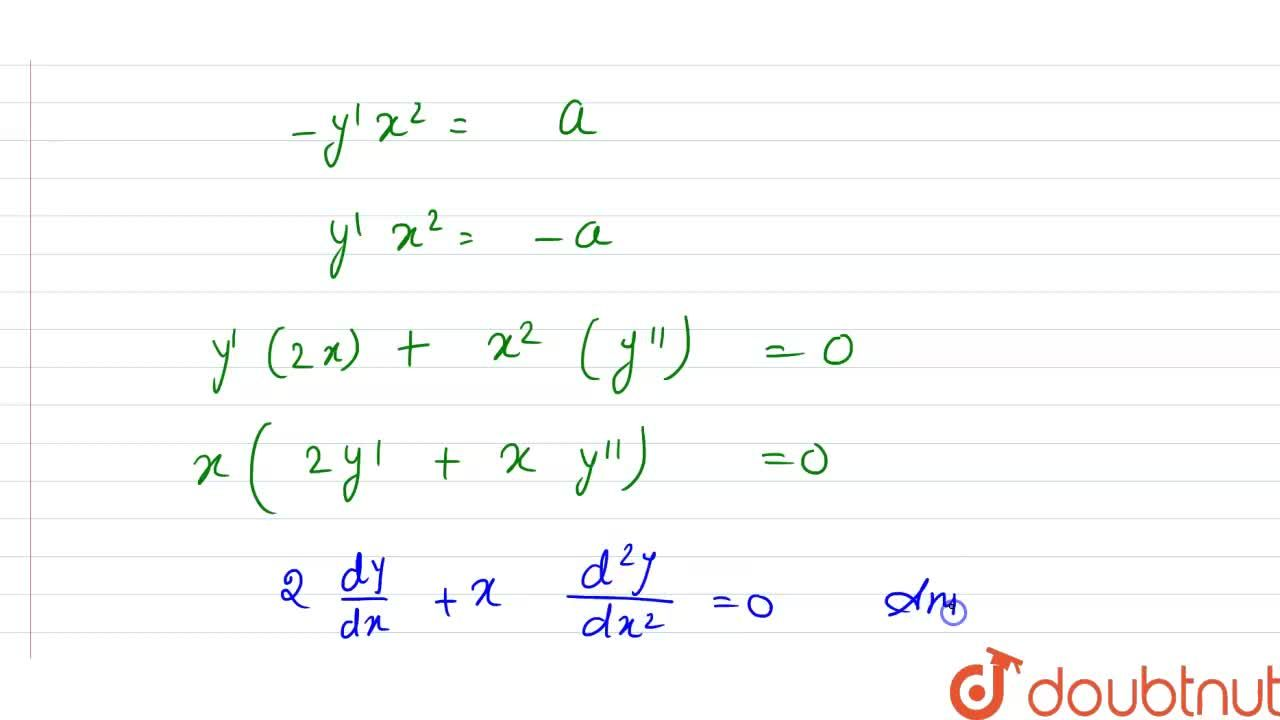 Verify that y=a,x+b is a solution of the differential equation (d^(2)y),(dx^(2))+2,x((dy),(dx))=0.