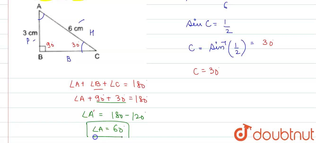 Solution for In right DeltaABC, ,_B=90^(@), AB=3cm and A