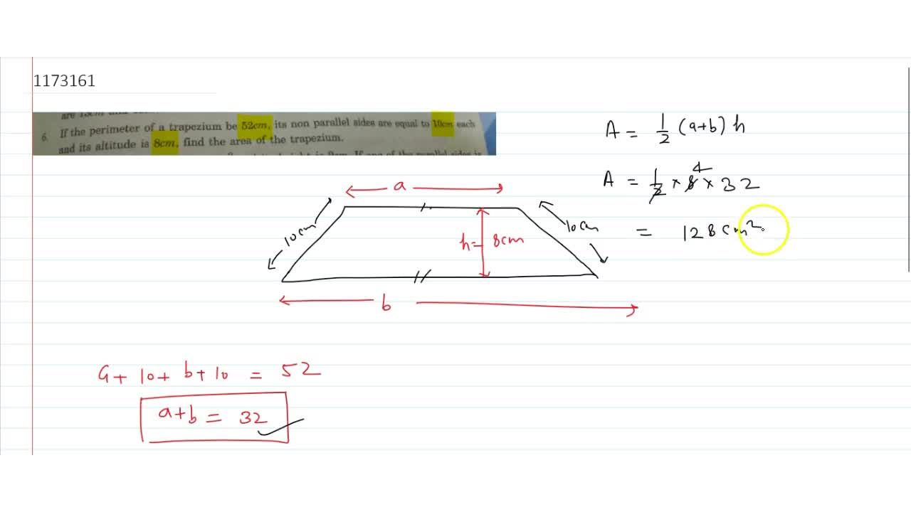 Solution for If the perimeter of a trapezium be 52cm, its non
