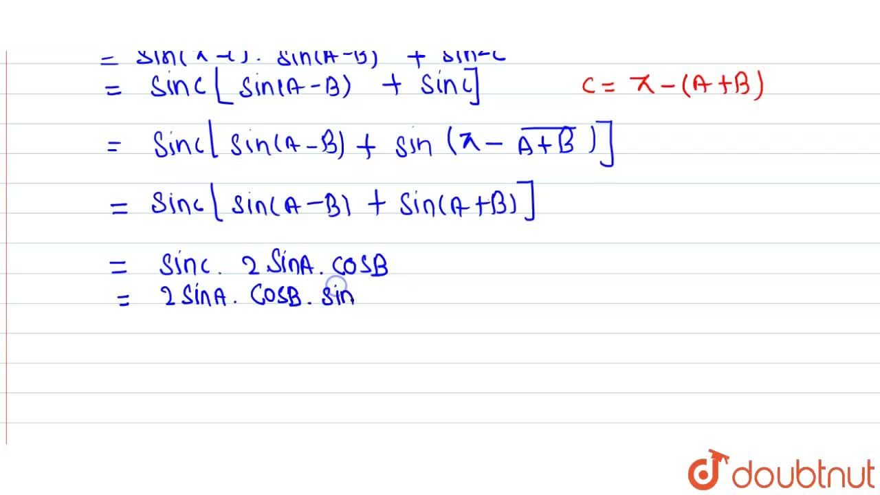Solution for If A+B+C=pi,prove that <br> sin^(2)A-sin^(2)B+s