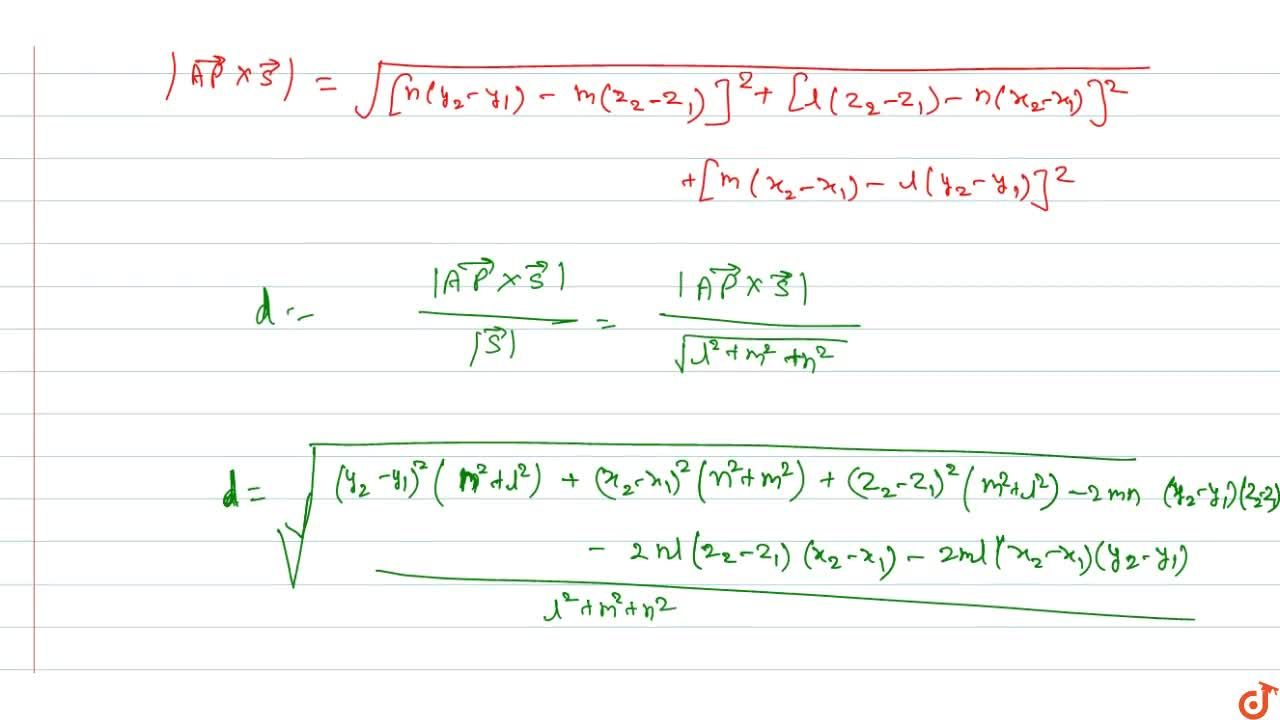 Solution for Distance of the point P(x_2, y_2, z_2) from the