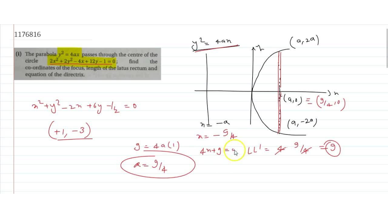 Solution for The parabola y^2= 4ax passes through the centre