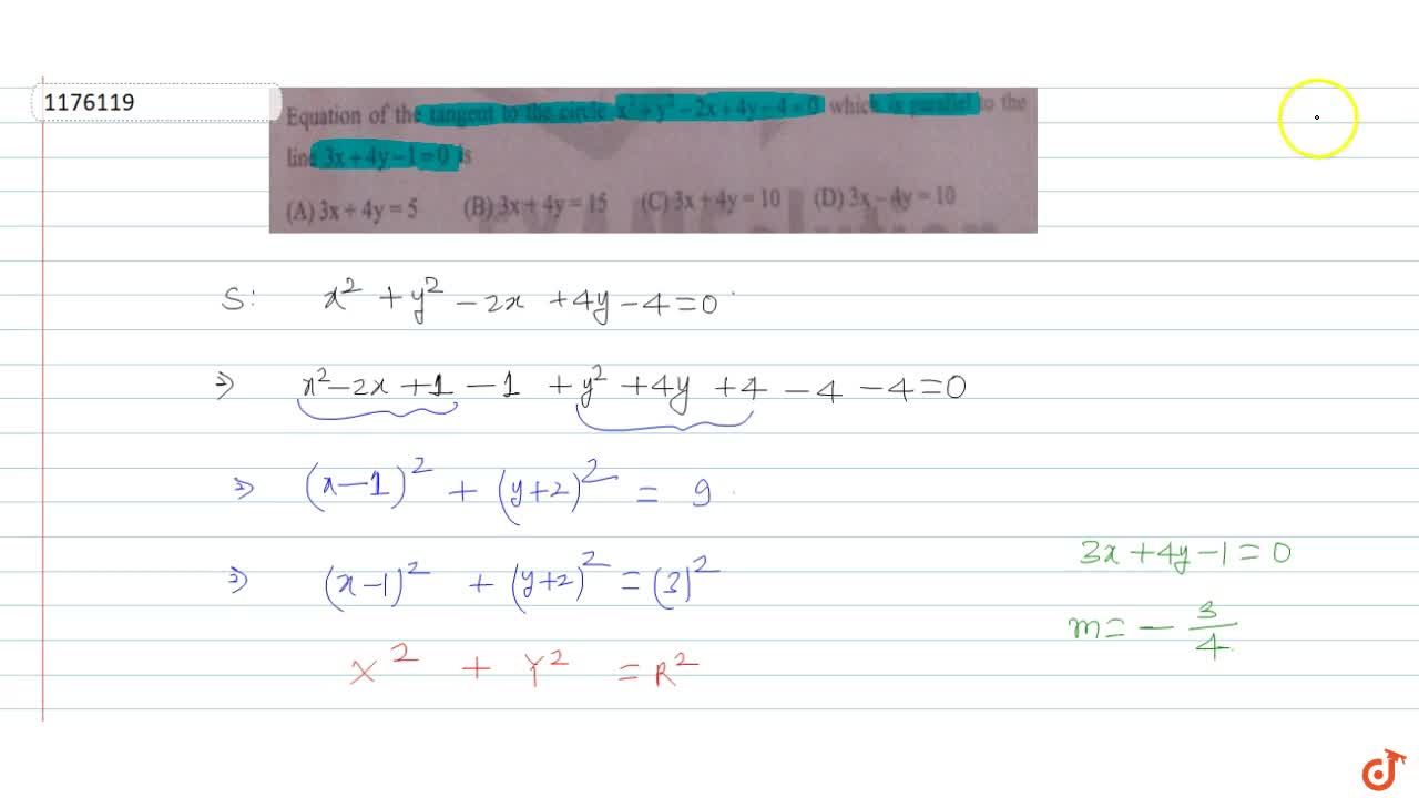 Solution for  Equation of the tangent to the circle x^2+y^2 -2