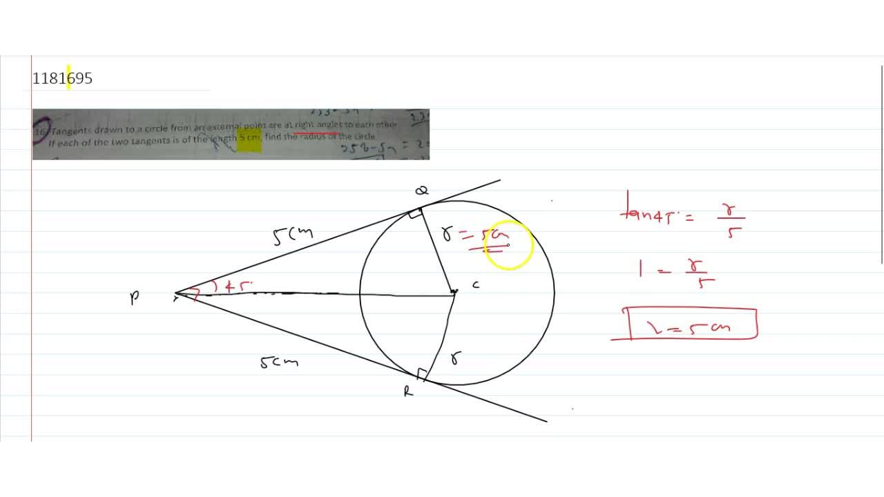 Solution for Tangents drawn to a circle from an external point