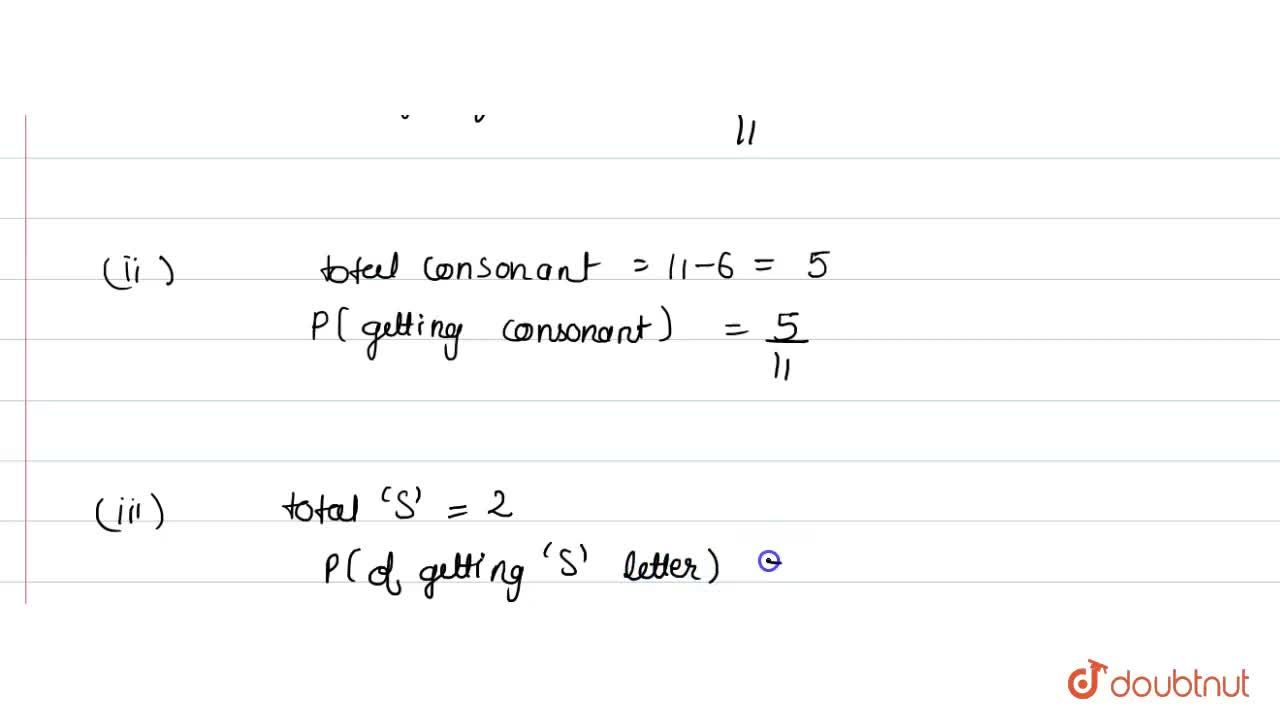Solution for A letter  is chosen at random from the letters of