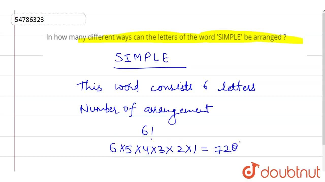 In how many  different  ways  can  the  letters of the  word 'SIMPLE' be arranged ?