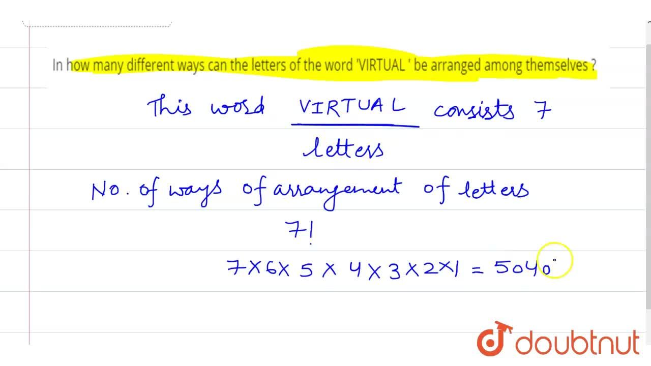 Solution for In how many different ways  can  the letters of th