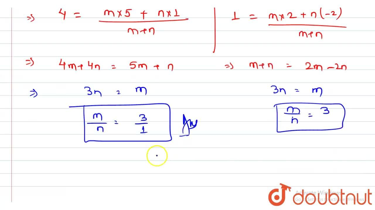 Solution for In what ratio does (4,1) divide the line segment