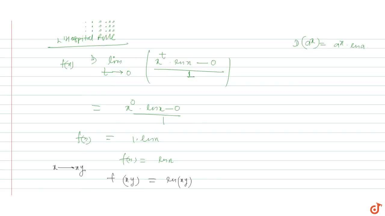 Solution for If f(x) = lim_(n -> oo) n(x^(1,n) - 1) then for
