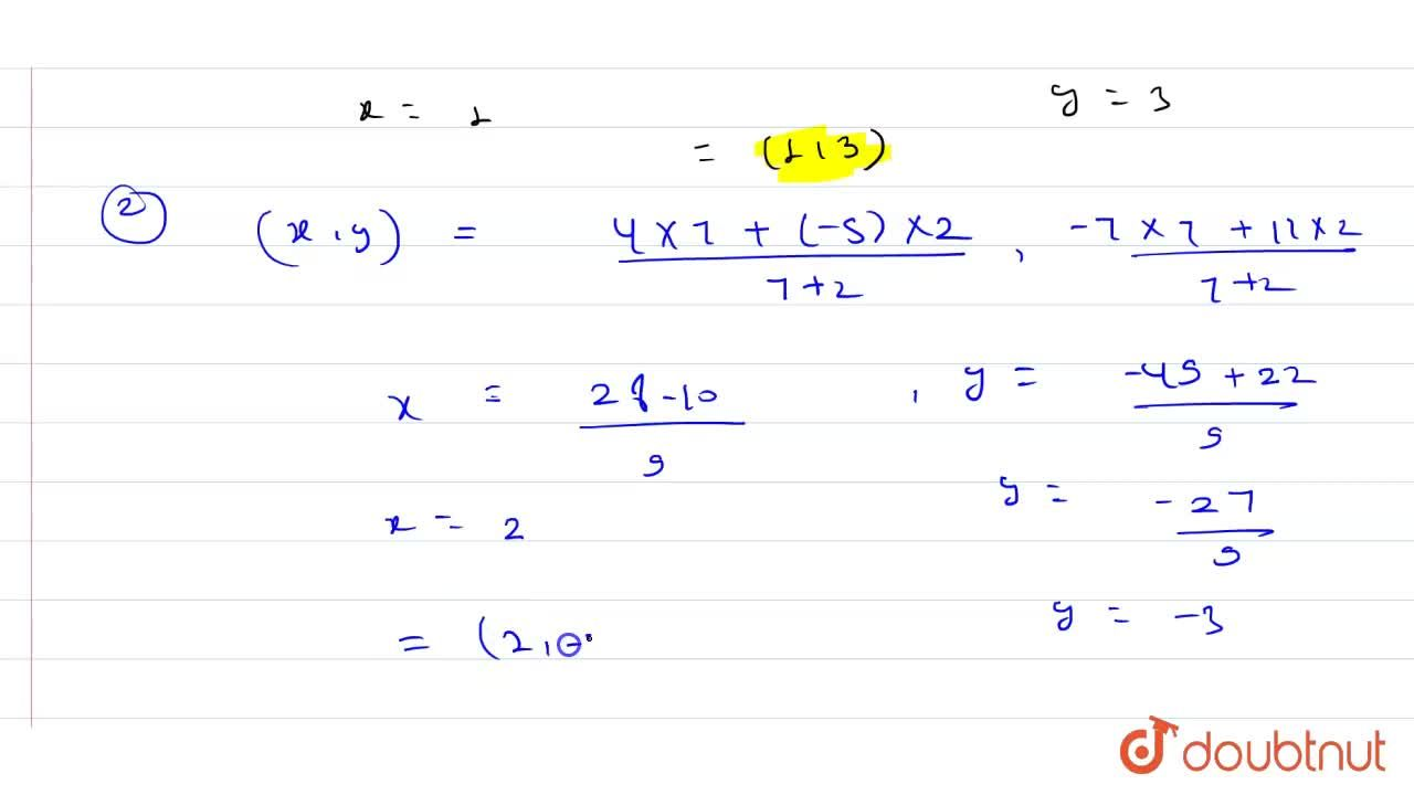 Solution for (i) Find the coordinates of the point which divide