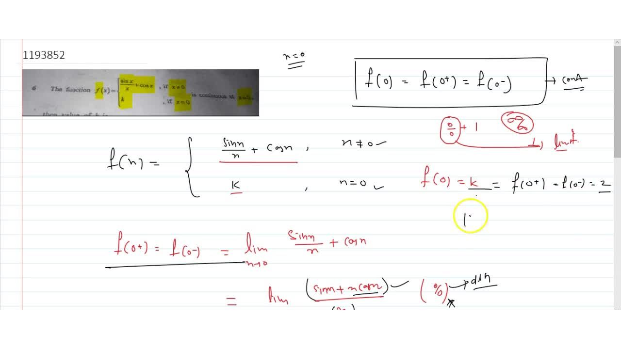 Solution for the function f(x)={sinx,x+cosx , x!=0 and f(x)=