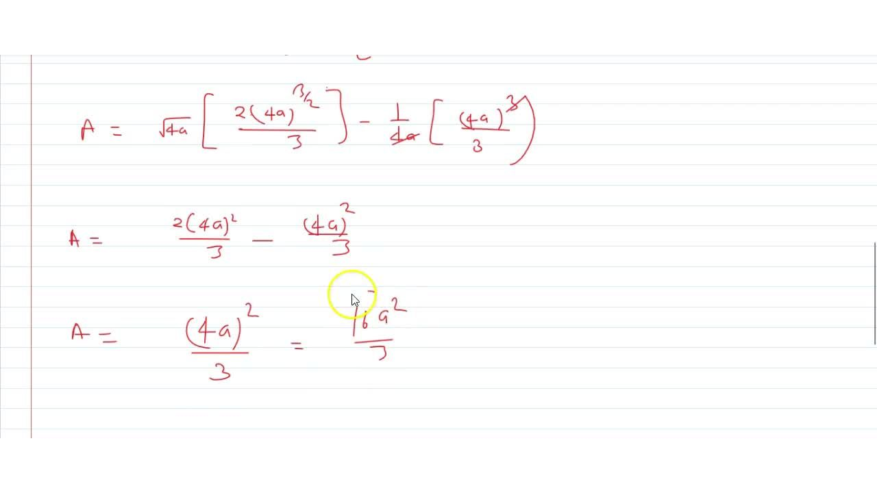 Find the area common to two parabolas x^2=4ay and y^2=4ax, using integration.