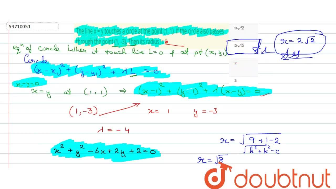 Solution for The line x = y touches a circle at  the point (1,