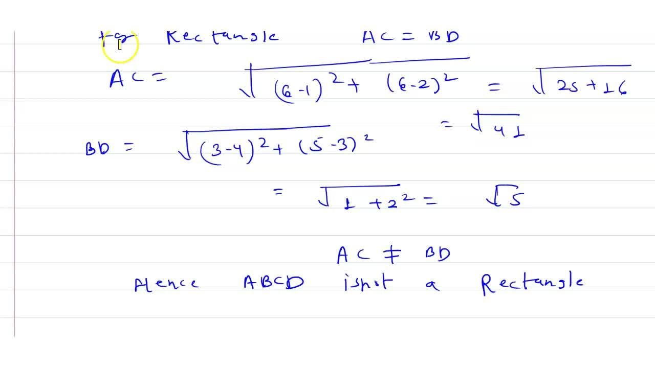 Solution for Show that A(1, 2), B(4, 3), C(6, 6) and D(3, 5) ar