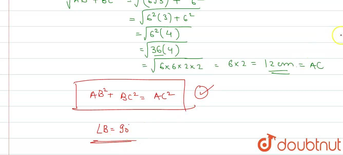 In Delta ABC, AB=6 sqrt(3) cm,  AC=12 cm and BC=6 cm. Then angle B  is