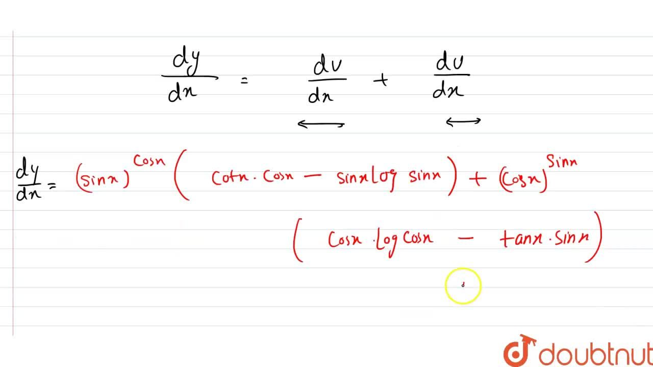 """Solution for """"If """"y=(sinx)^(cosx)+(cosx)^(sinx)"""", prove that """""""