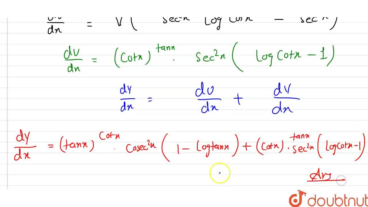"""Solution for """"If """"y=(tanx)^(cotx)+(cotx)^(tanx)"""",prove that """"("""