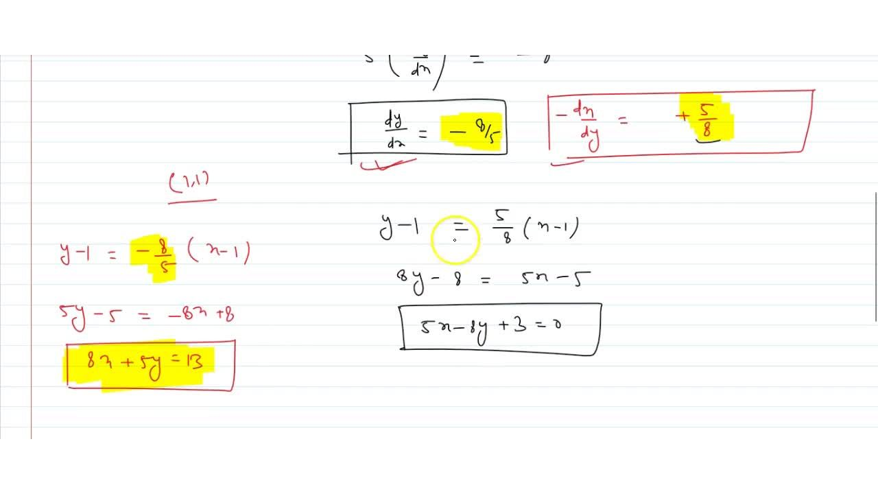 Find the equation of tangent and normal to the curve x^3+x^2+3xy+y^2=6 at the point (1,1).