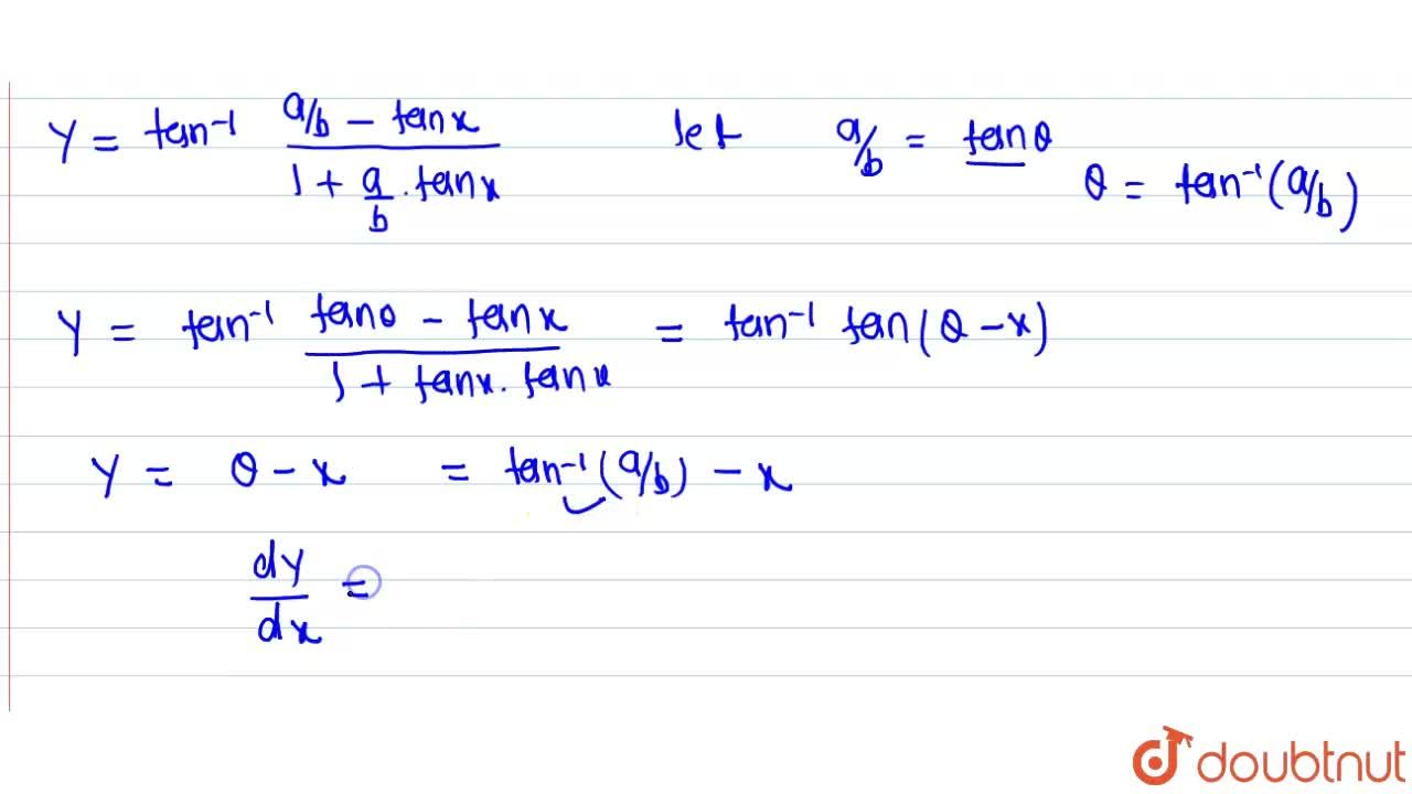 Solution for Differentiate tan^(-1)((a cosx-b sinx),(b cosx +