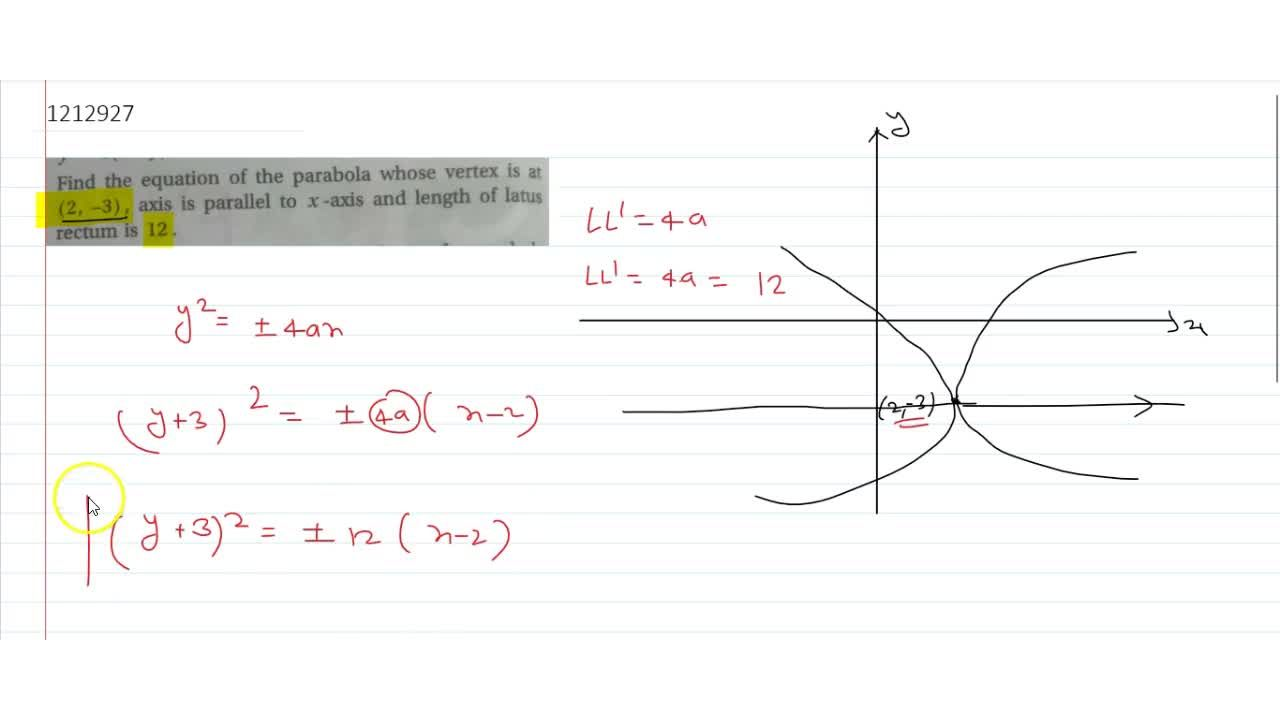 Solution for Find the equation of the parabola whose vertex is