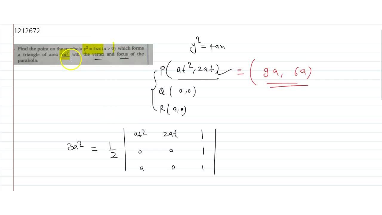 Solution for Find the point on the parabola y^2= 4ax (a > 0)