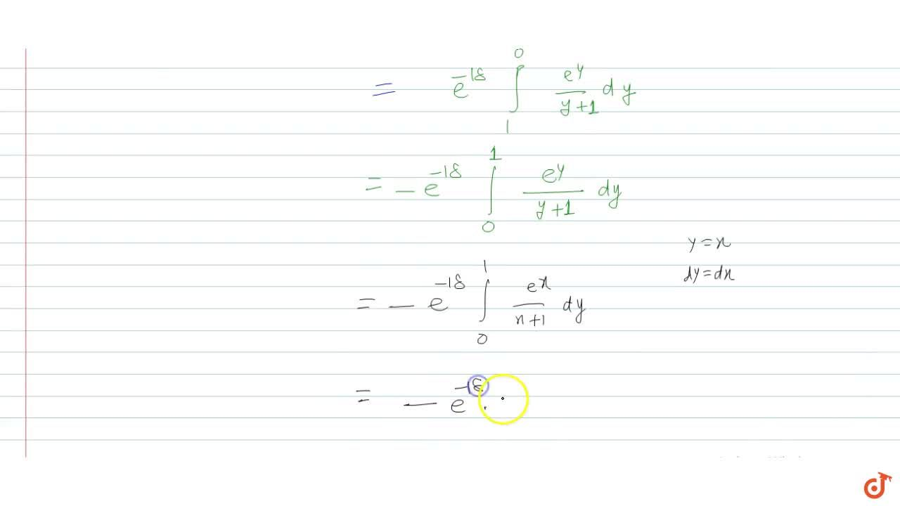 Solution for If  lambda=int_0^1(e^x),((x+1))  dx ,then  I=in