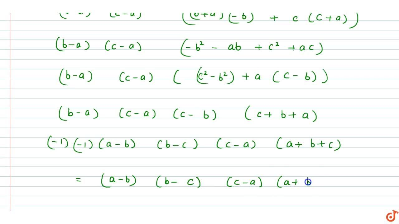 Solution for  The value of  |(1,1,1),(a^2,b^2,c^2),(bc,ca,ab)|