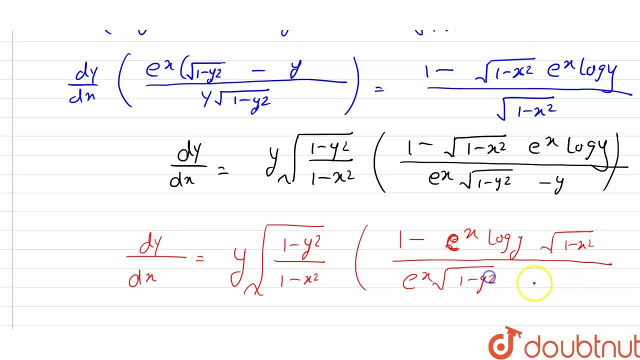 Solution for Find (dy),(dx), when: <br> e^(x)logy=sin^(-1)x+