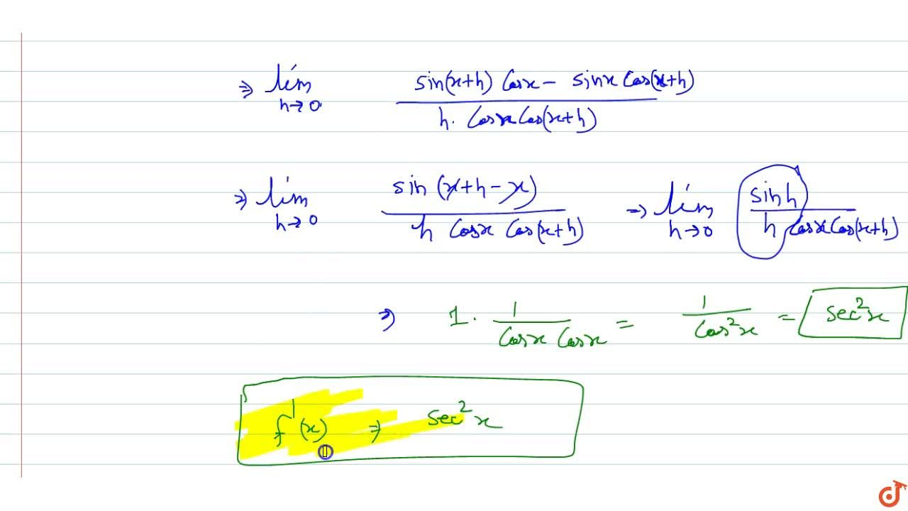 Solution for find the derivative of first principle of tan x
