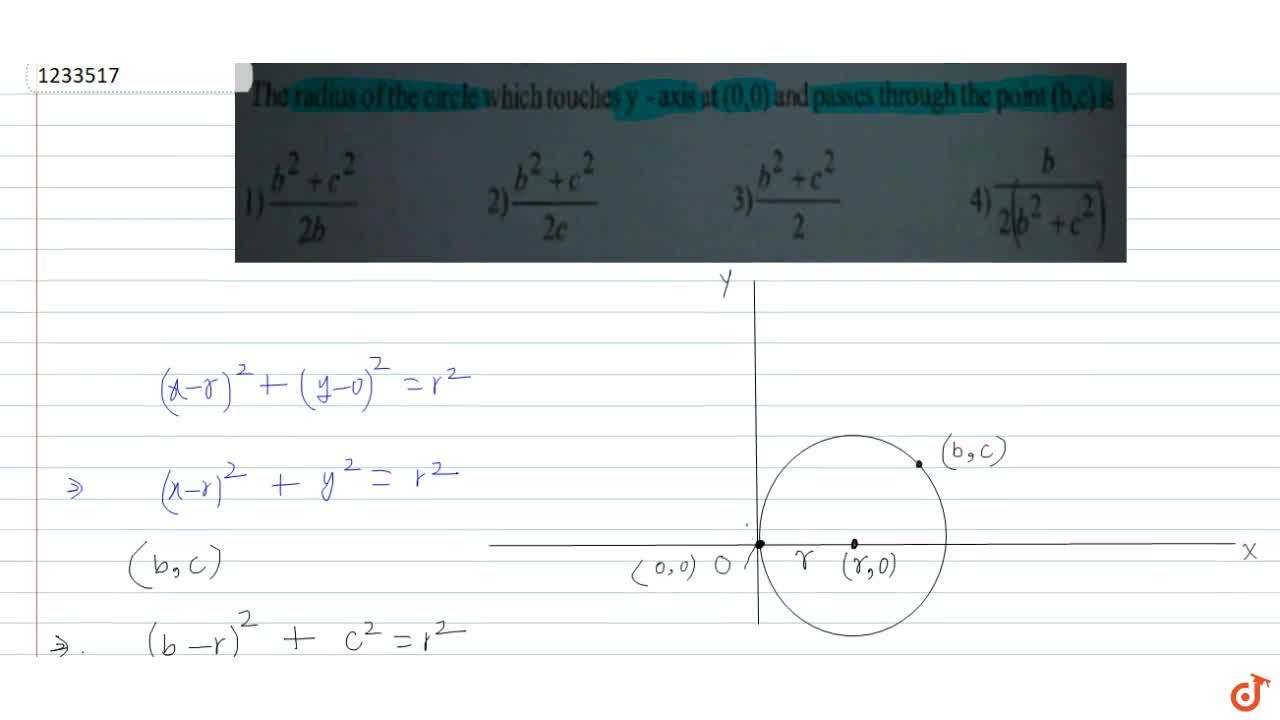The radius of the circle which touches y axis at (0,0) and passes through the point (b, c) is