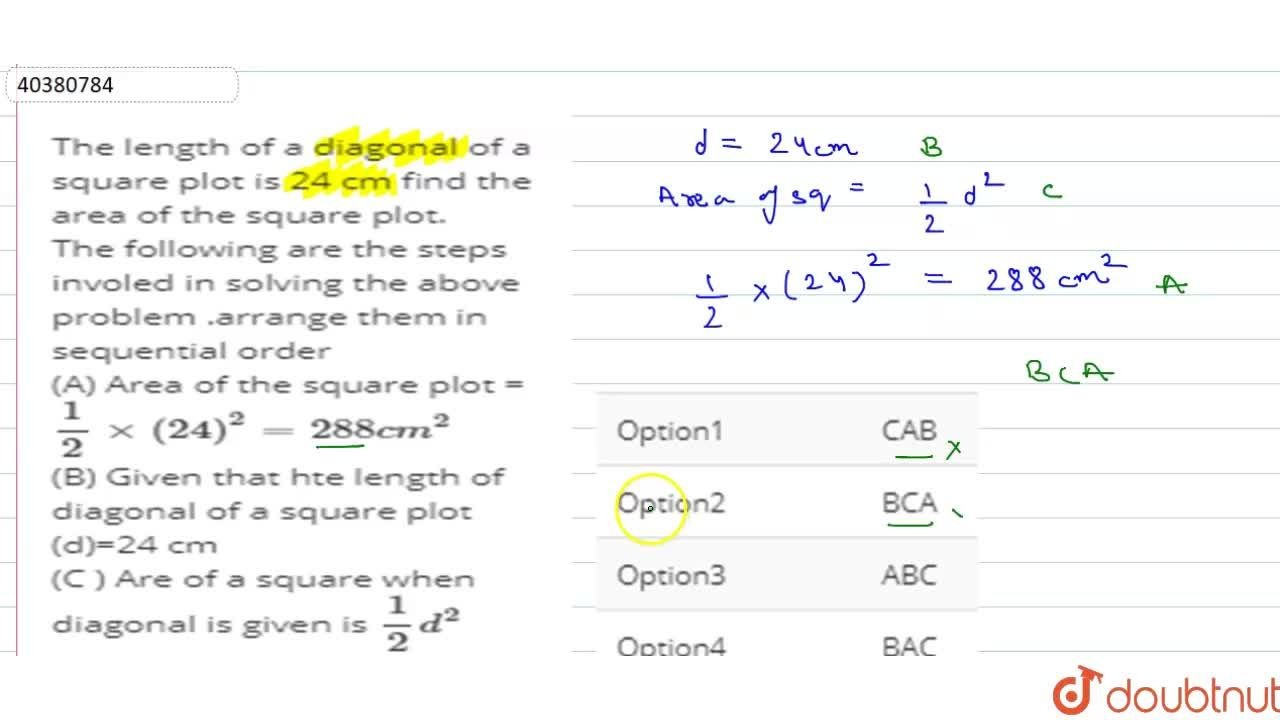 Solution for The length of a diagonal of a square plot is 24 cm