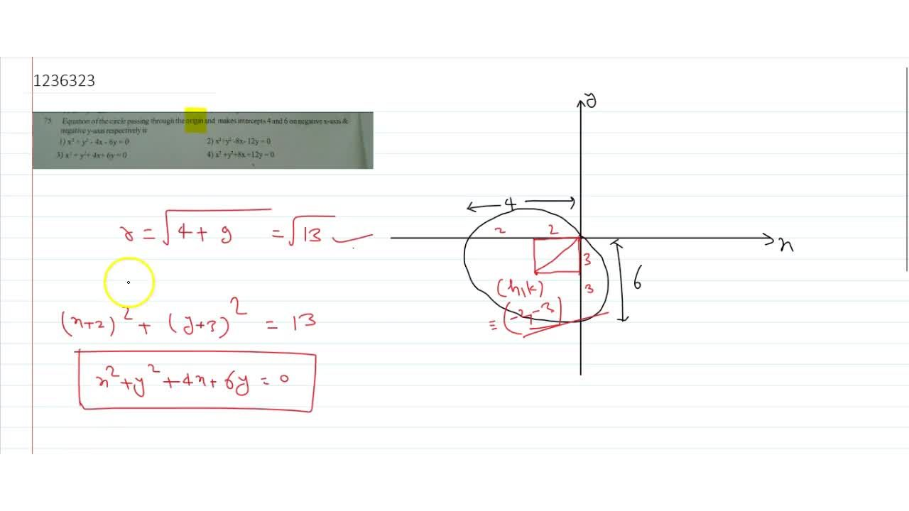 Solution for Equation of the circle passing through the origin