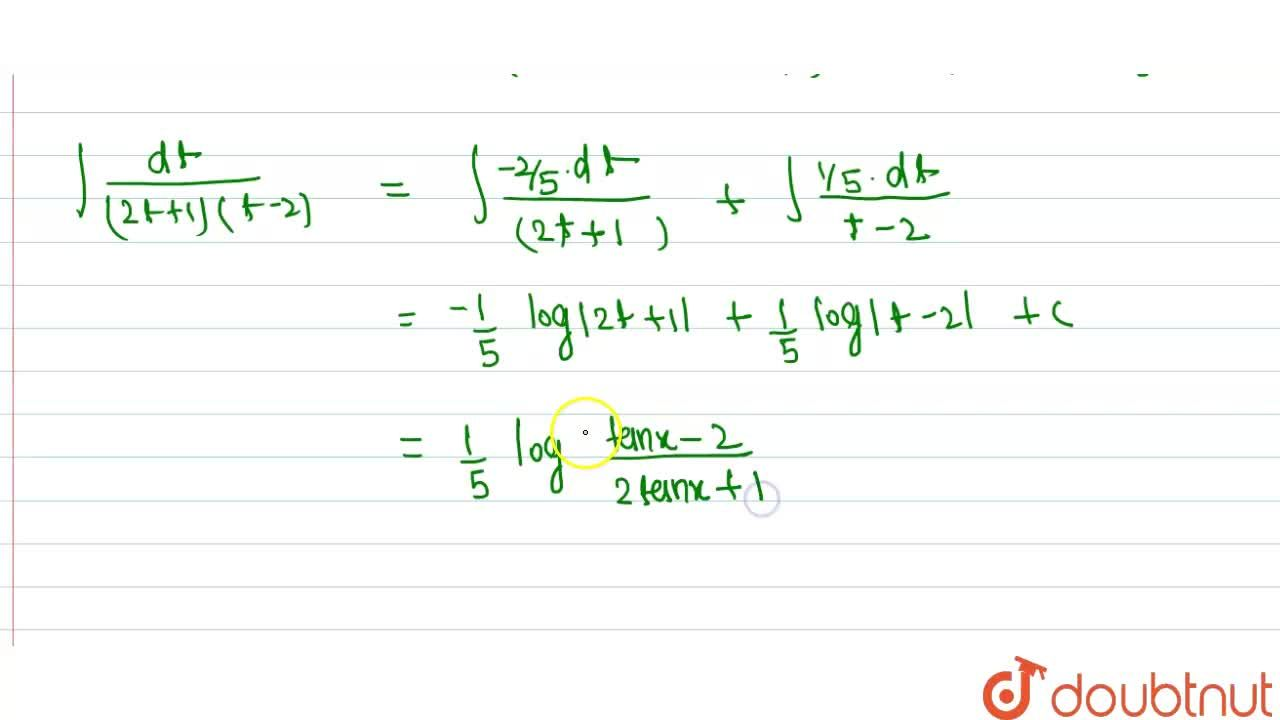 Solution for int(dx),((sinx-2cosx)(2sinx+cosx))