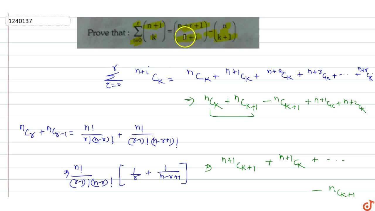 Solution for Prove that : sum_(i=0)^r((n+i),(k))=((n+r+1),(k+1