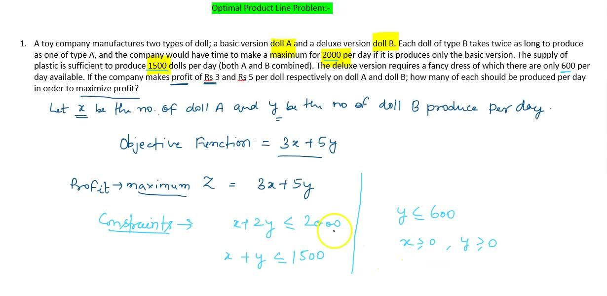 Solution for Optimal Product line problem