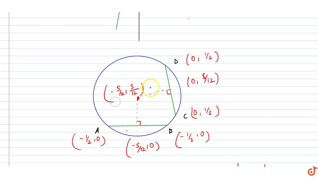 If the lines  2x-3y+1=0 and 3x-2y+1= 0 intersect the coordinate axes in concyclic points centre of the circle passing through those points is