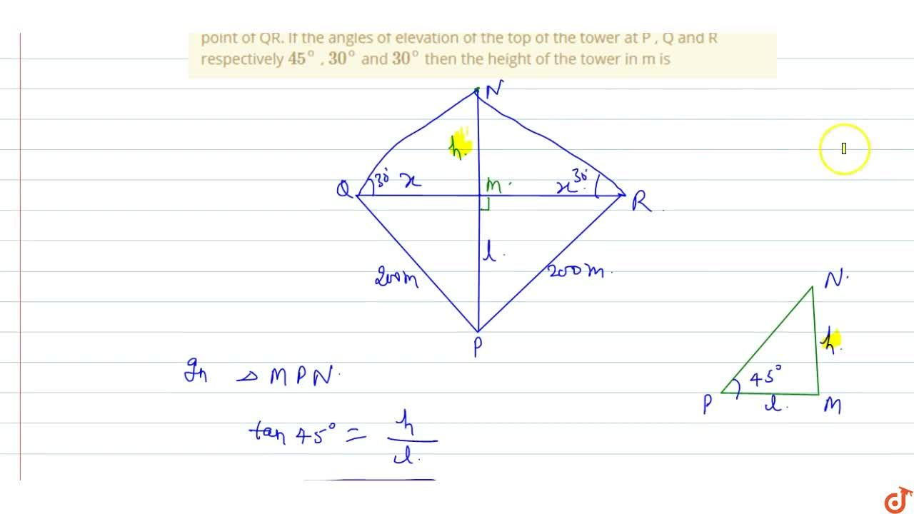 Solution for PQR is a triangular park with PQ=PR=200m . A T.V t