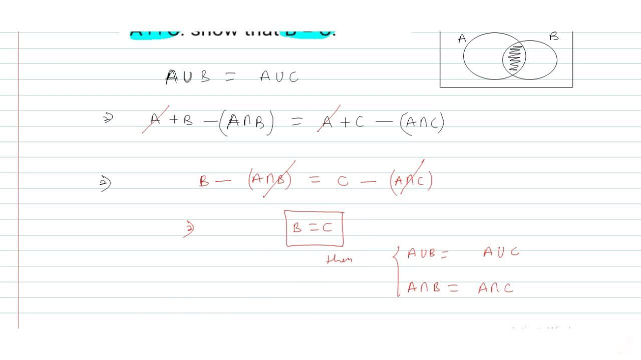 Solution for Let A, B and C be the sets such that A uu B