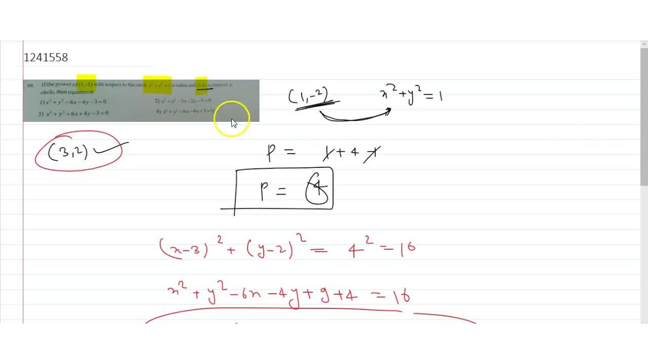 Solution for If the power of  (1,-2) with respect to the circ