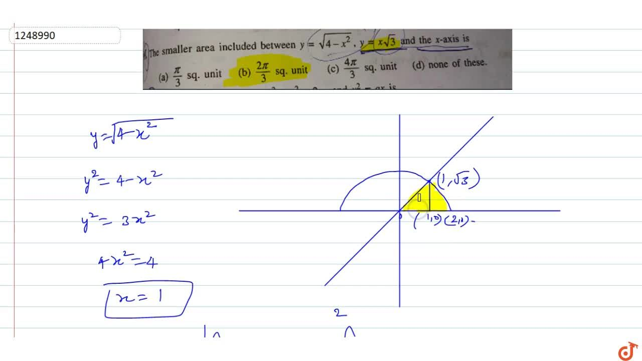 Solution for The smaller area included between y=sqrt(4-x^2),y
