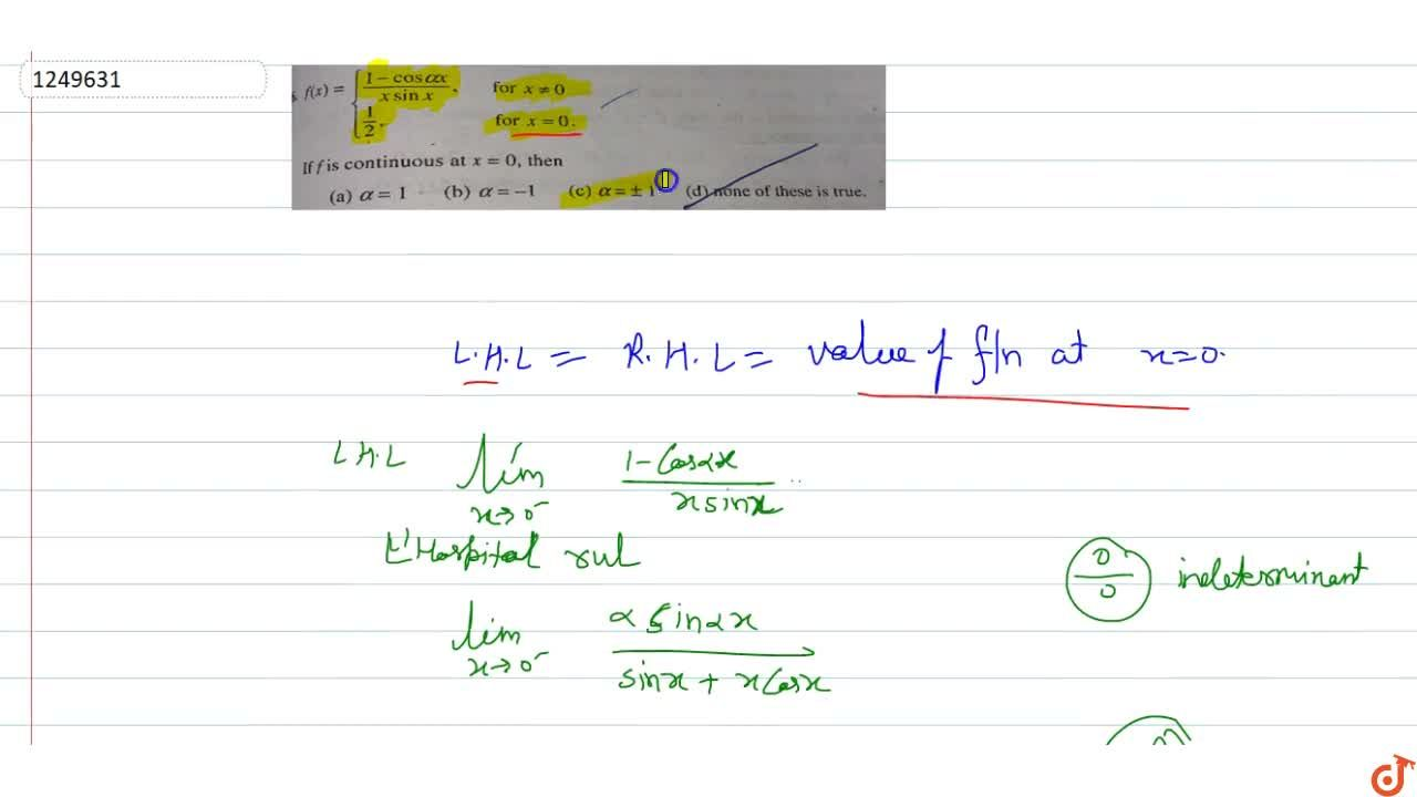 Solution for f(x)=(1-cosalphax),(xsinx), for x!=0, 1,2, for