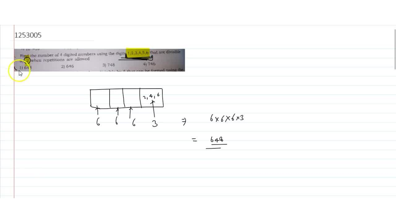 Solution for Find the number of 4 digited numbers using the d